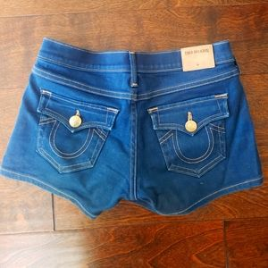 True Religion blue jean shorts with gold. Size 24